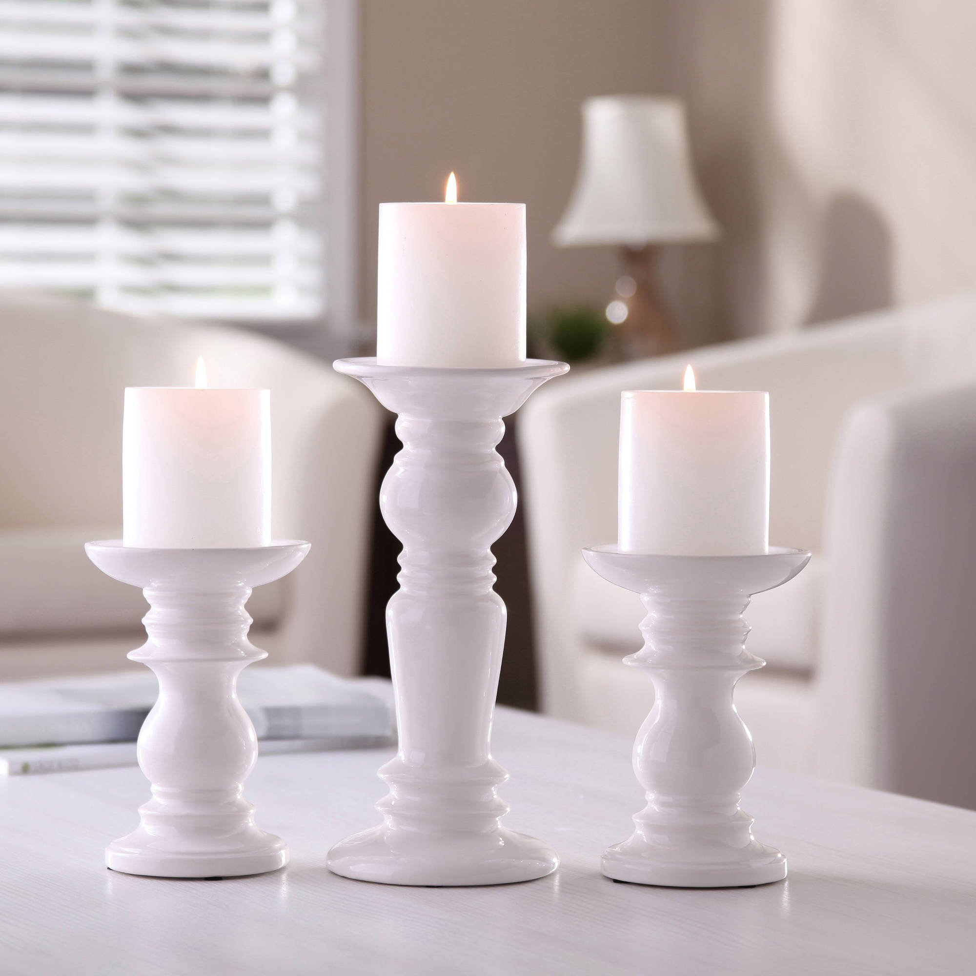 better homes and gardens ceramic pillar candle holders set of   - better homes and gardens ceramic pillar candle holders set of  walmartcom
