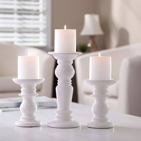 Better Homes & Gardens Ceramic Pillar Candle Holders, Set of 3 Base Pillar Candle Holder