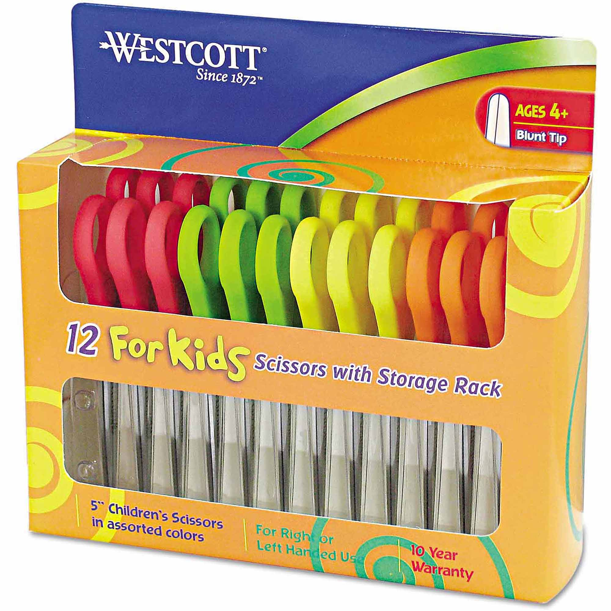 "Westcott 5"" Kids' Scissors, Blunt, Assorted Colors, 12-Pack"