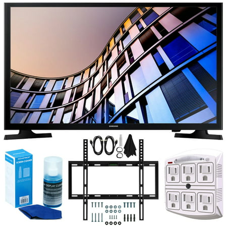 Samsung UN32M4500 32-Inch 720p Smart LED TV (2017 Model) + Slim Flat Wall Mount Kit Ultimate Bundle for 19-45 Inch TVs + SurgePro 6-Outlet Surge Adapter w/ Night Light + (32in 720p Lcd)
