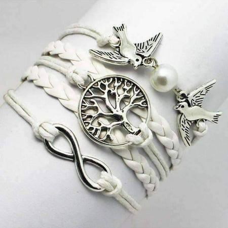 Womens Peace Bracelet - CLEARANCE - Peace, Love and Harmony White Handmade Friendship Bracelet White