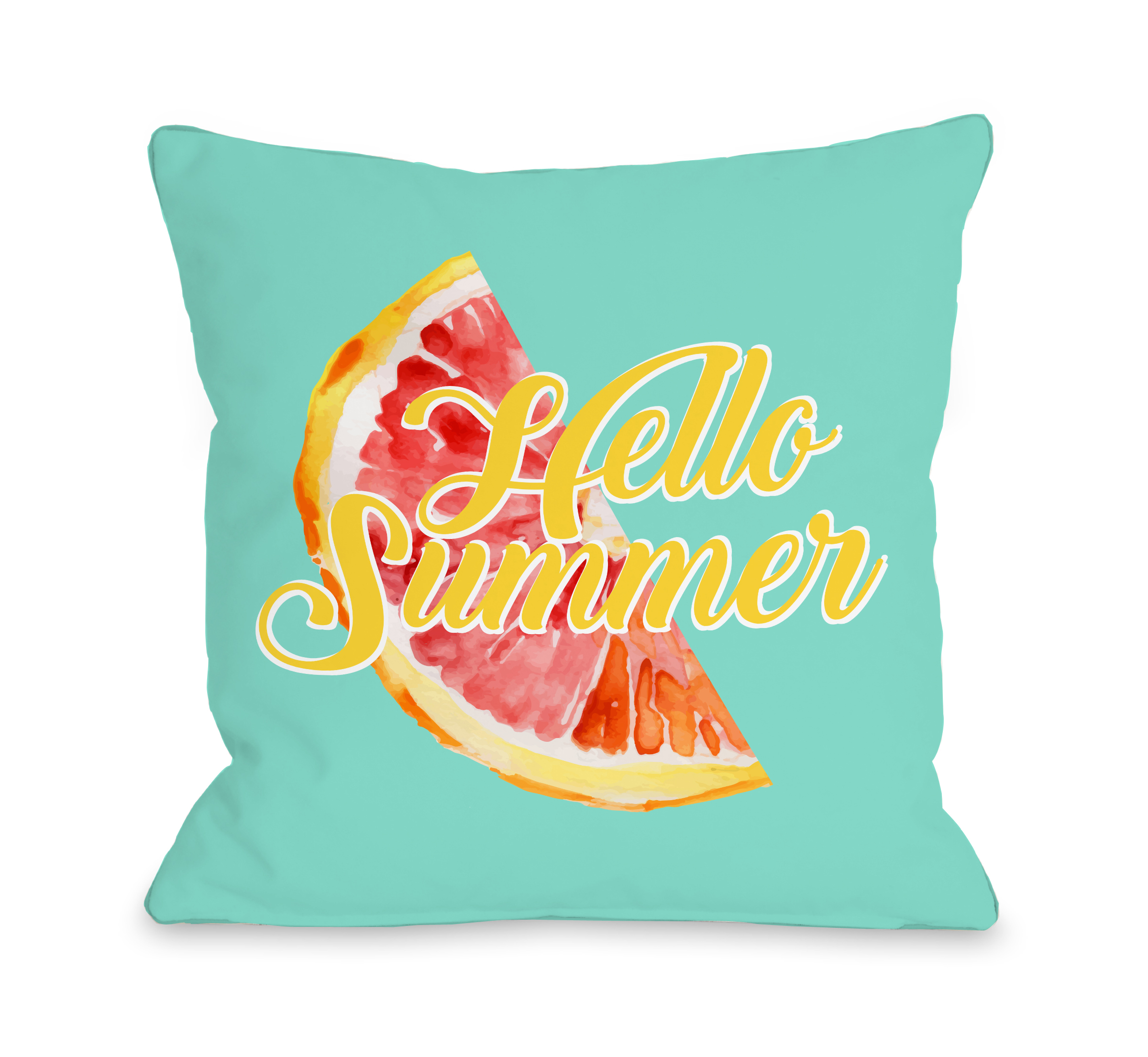 Hello Summer - Blue 18x18 Pillow by OBC