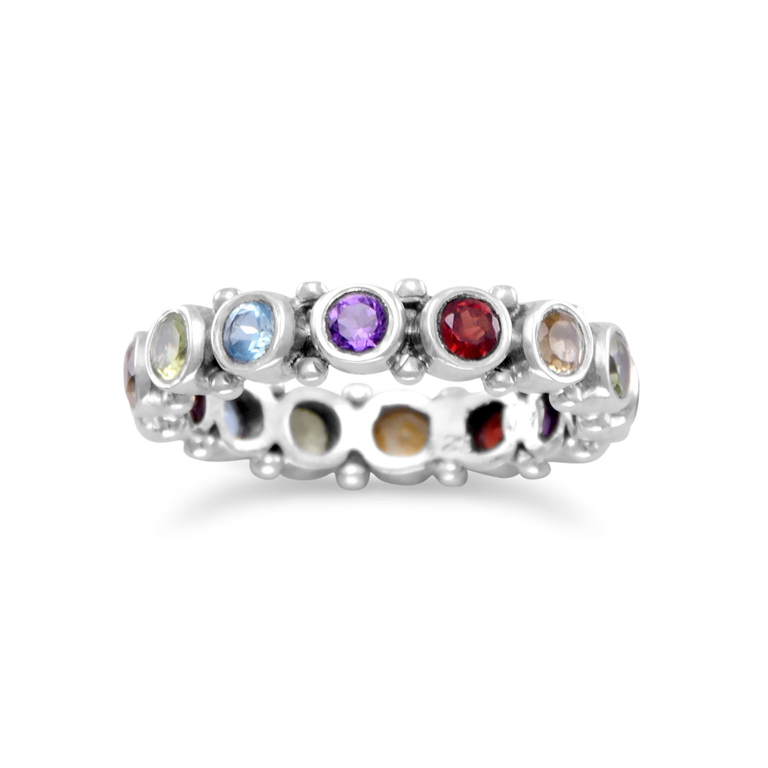 Eternity Band Ring with Amethyst, Blue Topaz, Citrine, Garnet, Peridot, Silver by unknown