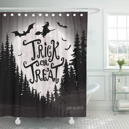KSADK Yellow Helloween Trick Treat Happy Halloween Bat Black Club Costume Dark Draw Dusk Shower Curtain Bath Curtain 66x72 inch - Bath Club Miami Halloween Party
