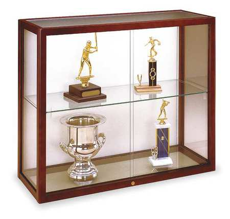 WADDELL DISPLAY 894M-PB-C Wall Mounted Display Case, Cordovan