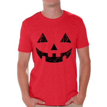 Awkward Styles Halloween Pumpkin Tshirt Jack-O'-Lantern Shirt Halloween Shirt for Men Dia de los Muertos T Shirt Funny Pumpkin Face T-Shirt Men's Halloween Party Shirt Day of the Dead Gifts for Him