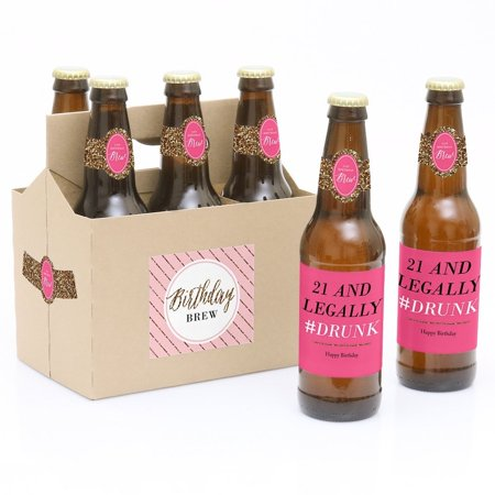21st Birthday Cookies - Finally 21 - Girl - 6 21st Birthday Party Beer Bottle Labels with 1 Beer Carrier