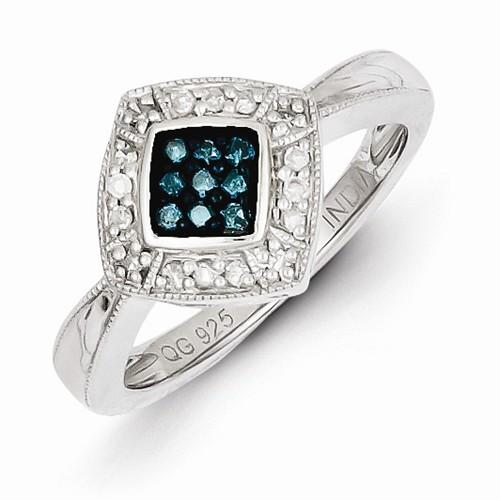 Sterling Silver W/ Rhodium-plated Blue Diamond Small Diam...