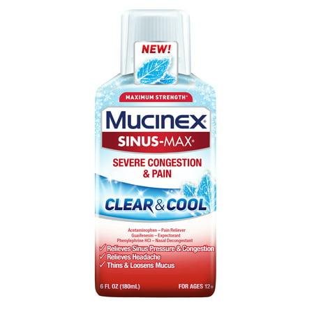 Mucinex Sinus-Max Clear & Cool Severe Congestion Relief Liquid, 6oz