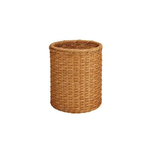 Neu Home 24642 White Round Wicker Wastebasket Off White