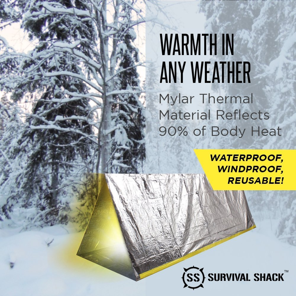 Survival Shack Emergency Survival Shelter Tent | 2 Person Mylar Thermal Shelter | 8u0027 X 5u0027 All Weather Tube Tent | Reflective Material Conserves Heat ...  sc 1 st  Walmart & Survival Shack Emergency Survival Shelter Tent | 2 Person Mylar ...