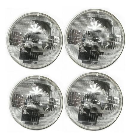 "7"" Round  Sealed Beam Glass Headlight Head Lamp Light Bulb 12V (2 pairs)"