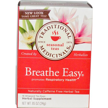 Traditional Medicinals, Seasonal Teas, Breathe Easy, Naturally Caffeine Free, 16 Wrapped Tea Bags, .85 oz (pack of 4)