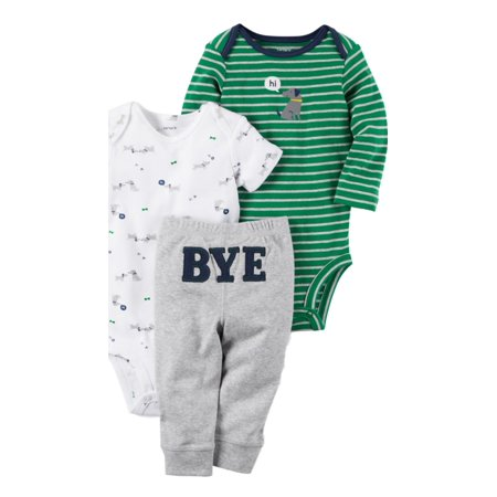 Carters Infant Boys 3-Piece Turn-Me-Around Hi/Bye Puppy Dog Bodysuits & Pant Set