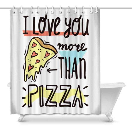 MKHERT I Love You More Than Pizza Funny Valentine\'s Day Quotes House Decor  Shower Curtain for Bathroom Decorative Fabric Bath Curtain Set 60x72 inch