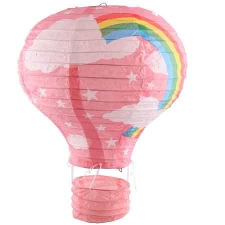 Party Graduation Paper Rainbow Print DIY Decoration Hot Air Balloon Lantern Pink - Easy Diy Paper Halloween Decorations