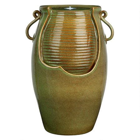 "21"" Rippling Jar Ceramic Cascading Outdoor Fountain"
