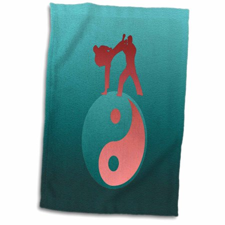 3dRose Karate Yin-yang Sign with Men Training, Aqua Green, and Coral - Towel, 15 by 22-inch