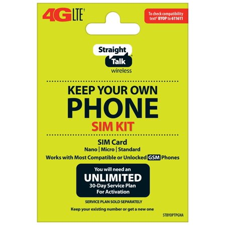 Straight Talk Keep Your Own Phone SIM Card Kit - AT&T GSM Compatible Devices