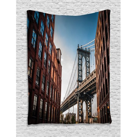 Nyc Decor Wall Hanging Tapestry, Manhattan Bridge Seen From A Narrow Alley Island Borough Globally Influential Town Nyc Photo, Bedroom Living Room Dorm Accessories, By (Best Borough In Nyc)