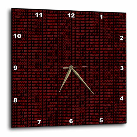 3dRose Binary Code - Black and Red, Wall Clock, 15 by 15-inch - Black And Red Cloak