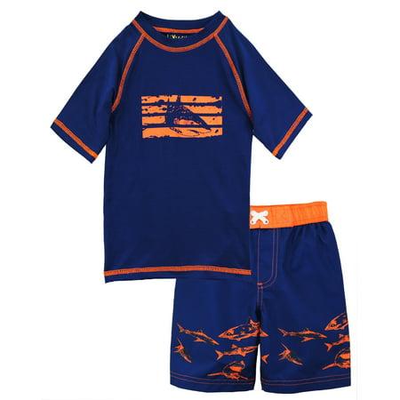 ixtreme toddler boy swimwear shark short sleeve rashguard swim board short trunk (Swimming Trunks And Rash Guard)