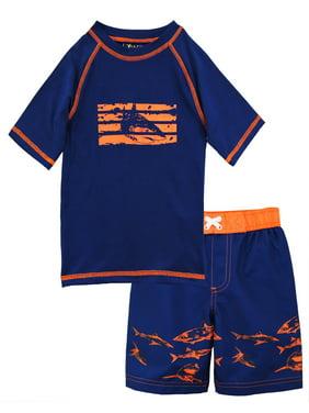 ixtreme toddler boy swimwear shark short sleeve rashguard swim board short trunk