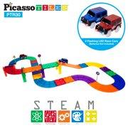 PicassoTiles 30 Piece Race Car Track Building Block Educational Toy Set Magnetic Tiles Magnet DIY Playset 2 Light Up Car STEM Learning Construction Kit Child Brain Development PTR30
