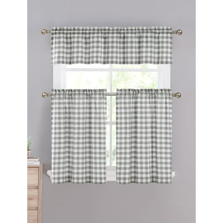 - Gray & White Cotton Blend Gingham Tartan Country Plaid Kitchen Curtain Set