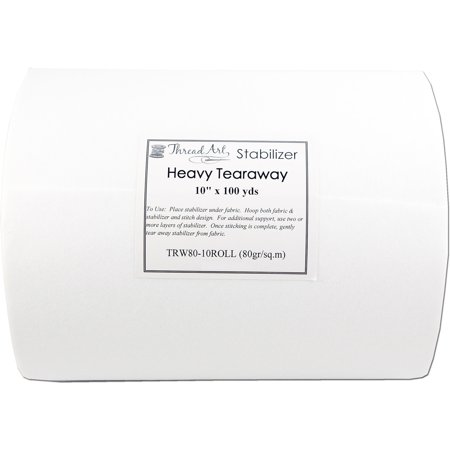 "Threadart Tearaway Machine Embroidery Stabilizer | Heavy Weight 2.8 oz | 10"" x 100 yd roll"