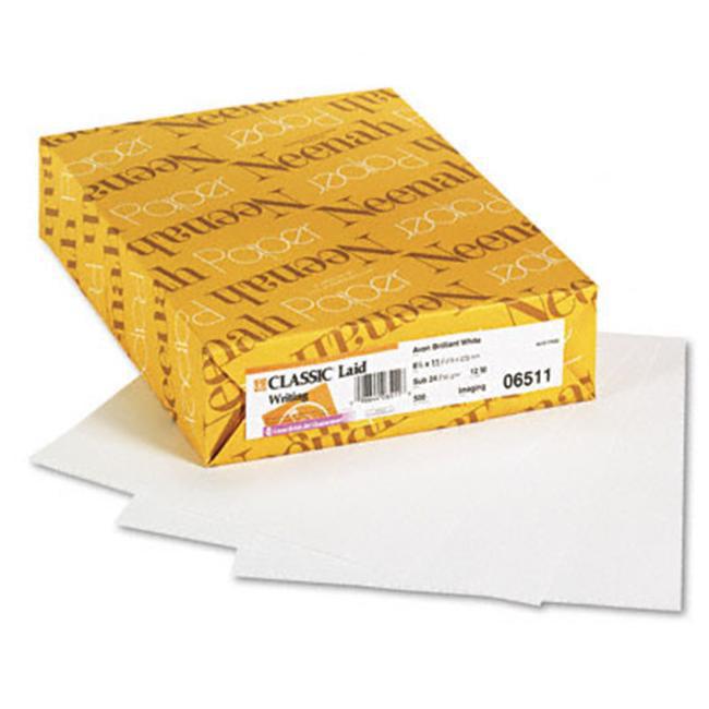 Neenah Paper 06511 Classic Laid Writing Paper- 24 lbs- 8-1/2 x 11- Avon Brilliant White- 500/Ream