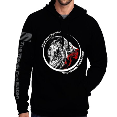 new style 2be84 eb6a0 The Weak Get Eaten w Lions Head Pullover Hoodie with US Flag on Sleeve  Supporting our Military Veterans 2nd Amendment 3 Percenter Made in the USA  T ...
