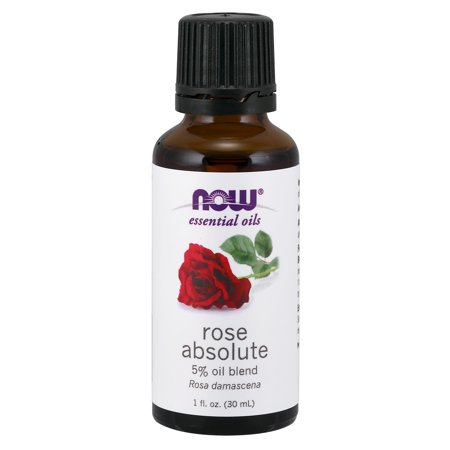 NOW Essential Oils, Rose Absolute, 5% Blend of Pure Rose Absolute Oil in Pure Jojoba Oil, Romantic Aromatherapy Scent, Vegan, 1-Ounce