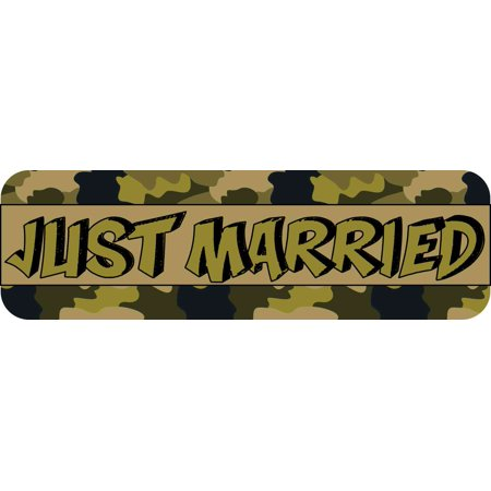 10X3 Camouflage Just Married Bumper Sticker Vinyl Decal Car Door Wedding Sign - Just Married Car Decorating Kit