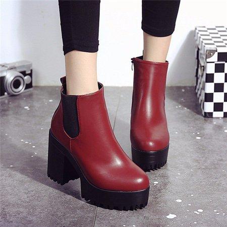 e409e04eeede Meigar - Winter Women Chelsea Chunky Shoes Ankle Boots Platform Block High  Heels Zipper - Walmart.com