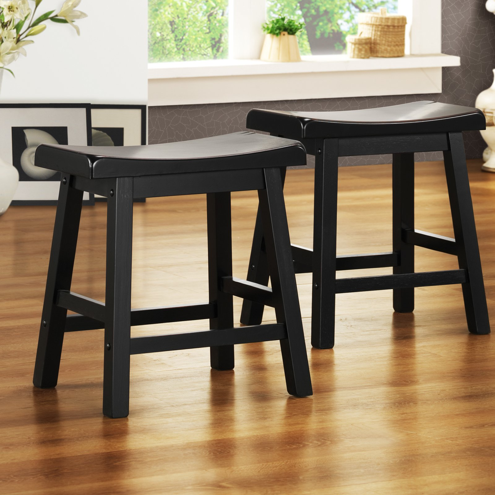 Ashby Kitchen Stools 18u0027u0027, Set Of 2, Black Rubbed   Walmart.com