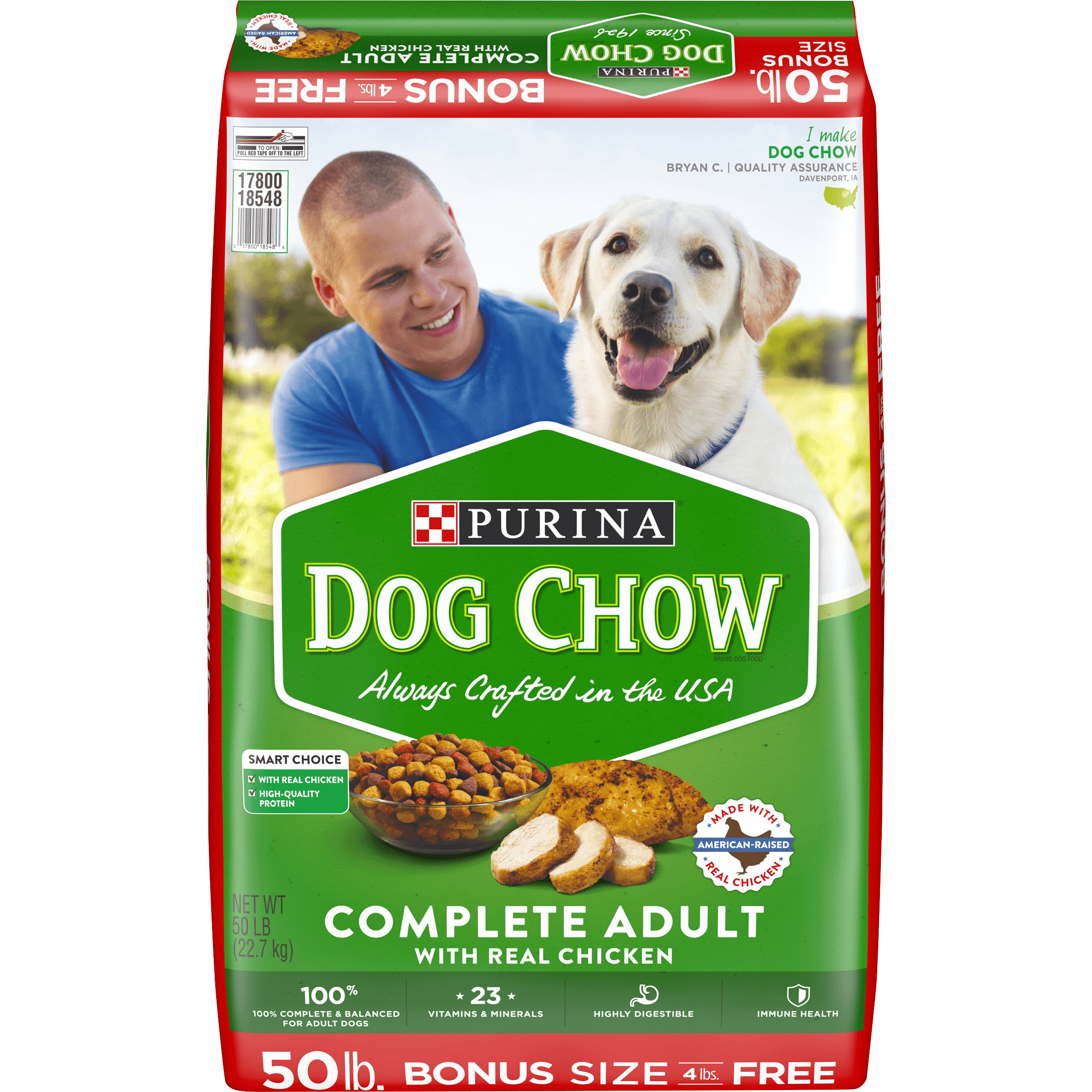 Purina Dog Chow Dry Dog Food, Complete Adult With Real Chicken, 50 lb. Bag  - Walmart.com - Walmart.com