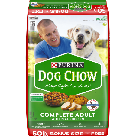 Purina Dog Chow Dry Dog Food, Complete Adult With Real Chicken - 50 lb. (Best Dog Food For The Money)