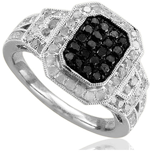 Holiday Collection 1 Carat T.W. Treated Black and White Diamond Sterling Silver Fashion Ring