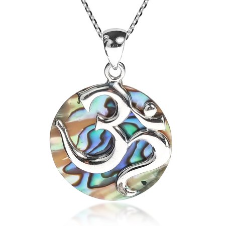 Spiritual Aum or Om with Abalone Shell .925 Sterling Silver