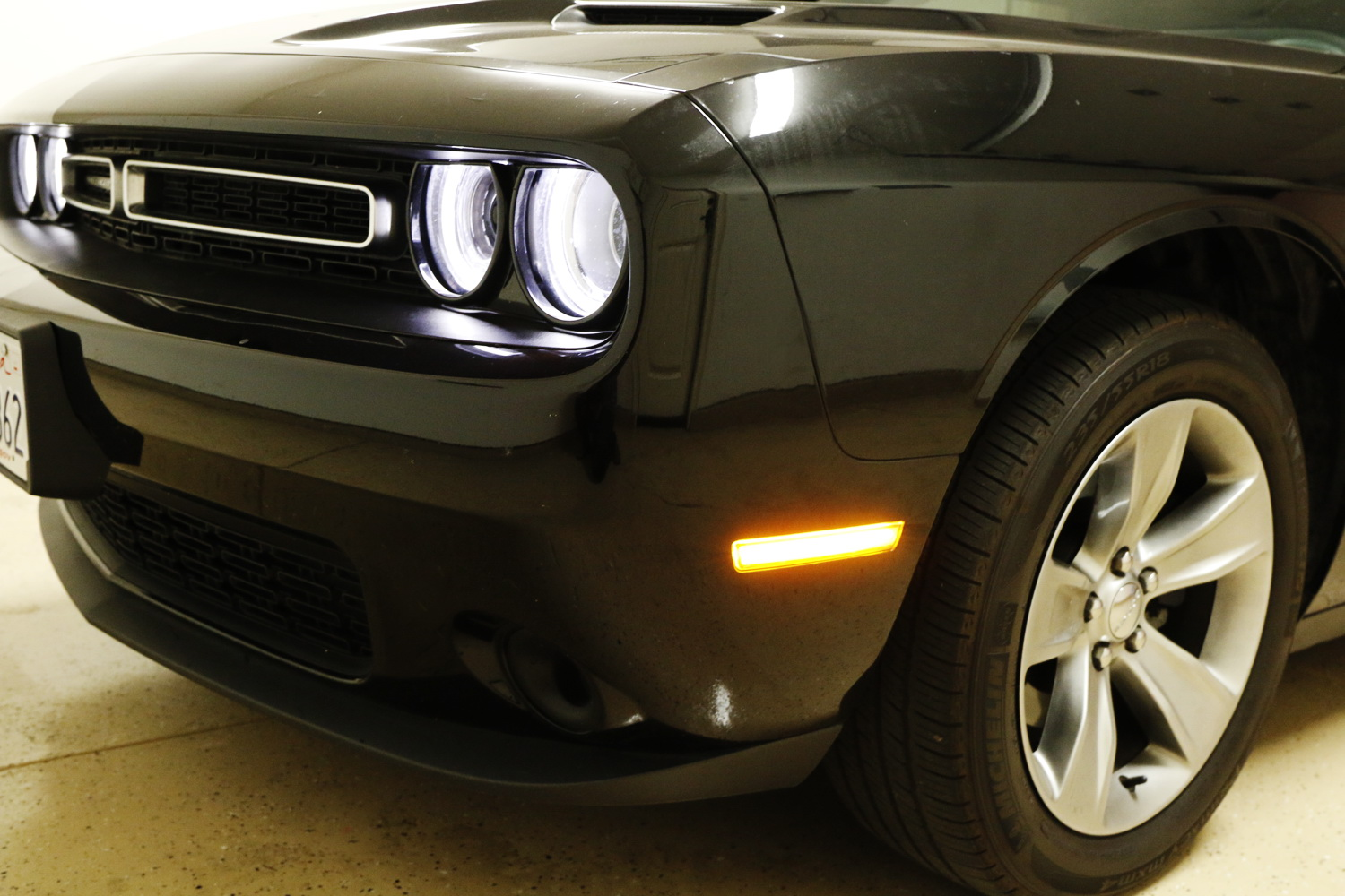 iJDMTOY Clear Lens Amber LED Front Side Marker Lamps Compatible with 08-14 Dodge Challenger Clear LH RH Sidemarkers Powered by 24 Amber SMD LED Lights