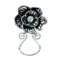 Flowers Eyeglass Magnetic Holder - Silver Tone