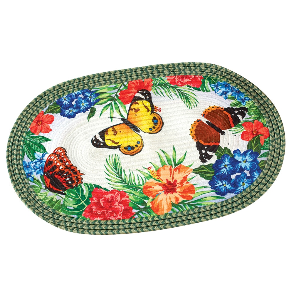 """Colorful Butterfly and Tropical Flowers Braided Accent Rug, 19 1 2""""W x 29 1 2""""L,... by Collections Etc"""