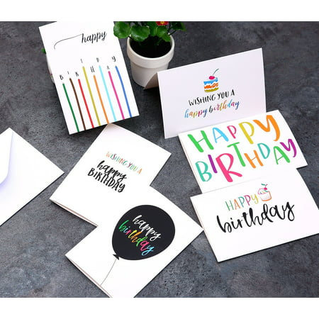 Ohuhu Happy Birthday Gift Cards 48 Assorted Folded Kids Greeting Blank Note W White Envelopes And Stickers 4 X 6 Inch Candle