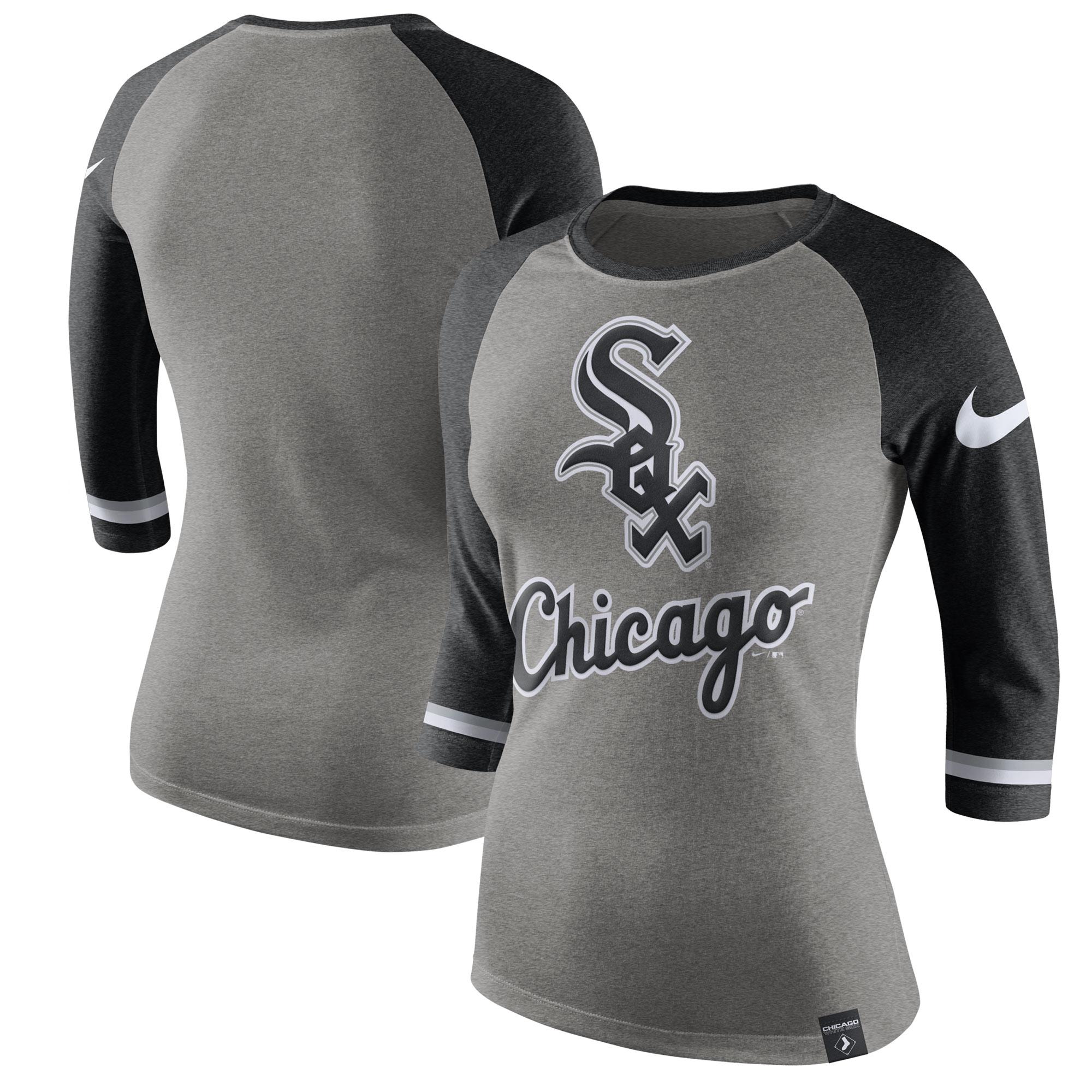 Chicago White Sox Nike Women's Tri-Blend 3/4-Sleeve Raglan T-Shirt - Heathered Gray