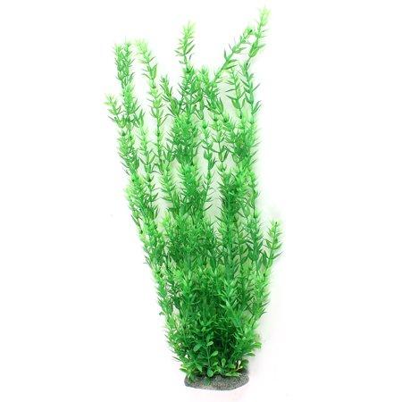 Ceramic Base Green Plastic Aquatic Plant Ornament 20.9