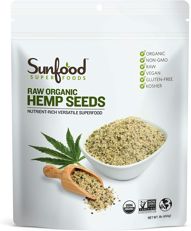 Sunfood Superfoods Raw Organic Shelled Hemp Seeds. Non-GMO ...