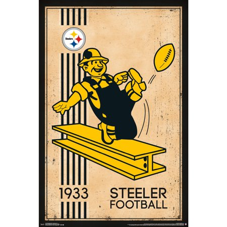 Pittsburgh Steelers 22'' x 34'' Retro Logo Poster - No - Steelers Decor