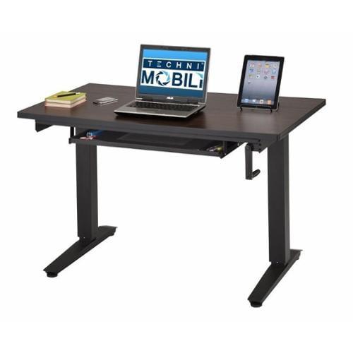 Techni Mobili Alto Sit-To-Stand Workstation Computer Desk in Hickory