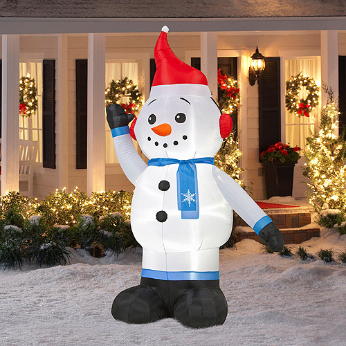 8' Tall Airblown Christmas Snowman Inflatable